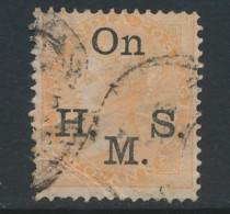 INDIA, SERVICE 1883 2 Anna OnHMS Yellow Fine Used, SGo33, Cat GBP50 - India (...-1947)