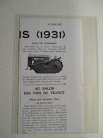 Tracteur BAUCHET Ets à RETHEL (Ardennes)  - Coupure De Presse De 1931 - Tractors