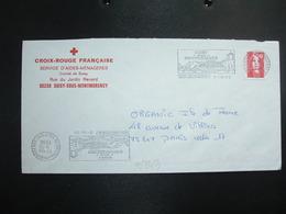 LETTRE TP M. DE BRIAT TVP ROUGE OBL.MEC.9-10 1996 95 SOISY SOUS MONTMORENCY + CROIX-ROUGE FRANCAISE SERVICE D'AIDES-MENA - Rotes Kreuz