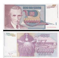 Billet Yugoslavie 5000000 Dinar - Yugoslavia
