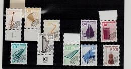FRANCE PRÉOBLITÉRÉS INSTRUMENTS DE MUSIQUE 1992 Y&T 213a à 223a NEUFS ** 12 Dents Horizontalemen - 1989-....