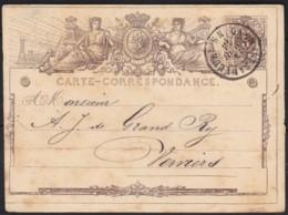Belgie     .    OBP   .    Postkaart  (2 Scans)      .      O      .       Gebruikt  .   /    .    Oblitéré - 1869-1883 Leopold II