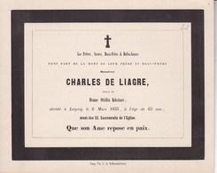 LEIPZIG  Charles De LIAGRE époux Ottilia KUSTNER 65 Ans 1855 Famille à Anvers - Décès