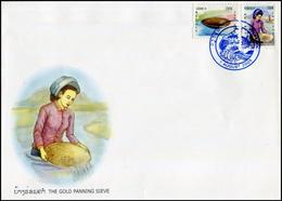 292 - Laos 2005 YT 1592-93 ; Mi# 1968-69  Sur FDC  Gold Panning - Laos