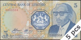 TWN - LESOTHO 10a - 5 Maloti 1989 DEALERS LOT X 5 - Prefix E UNC - Lesotho