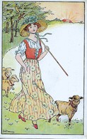 Florence Hardy  -  A Young Shepherdess And Her Sheep. - Hardy, Florence