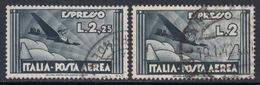ITALIA - Posta Aerea Sassone N.A44+A73 - Cat. 304 Euro - Usatio Used Luxus Gestempelt - 1900-44 Victor Emmanuel III