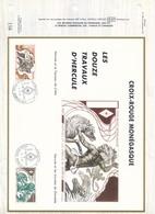 MONACO-DOCUMENT OFFICIEL156 - LES 12 TRAVAUX D'HERCULE - CROIX ROUGE MONEGASQUE -  8.11.84 - MONACO - Monaco