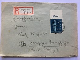 GERMANY 1944 Registered Leipzig Cover To Langfuhr Danzig Tied With Junkers - Air Mail Services - Allemagne