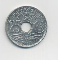 IIIème République 25 Centimes Lindauer 1917 Centimes Souligné - F. 25 Centesimi