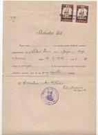 1946 YUGOSLAVIA,CROATIA,SVETI MARTIN NA MURI,PARISH OFFICE,MARRIAGE PERMISSION,2 X 10 KN CATHOLIC CHURCH REVENUE STAMP - 1945-1992 Socialist Federal Republic Of Yugoslavia