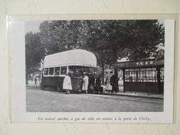 Transport Utilitaire - Autobus à Gaz Porte De Clichy  Sous Paris Occupé  - Coupure De Presse De 1940 - Documents Historiques
