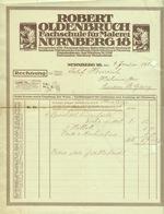 """Nürnberg Rechnung 1920 """" Robert Oldenbruch - Fachschule Für Malerei """" - Allemagne"""