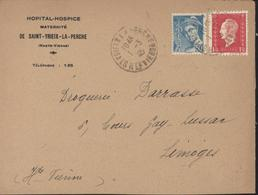 1er Premier Jour Tarif Lettre à 2 Fr Le 01 03 1945 YT 549 + 631 CAD St Saint Yrieix La Perche Haute Vienne 10.45  1 3 45 - Tarifas Postales