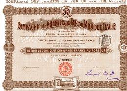 Compagnie Des CHEMINS De FER Du MIDI De L'ITALIE; Action - Chemin De Fer & Tramway