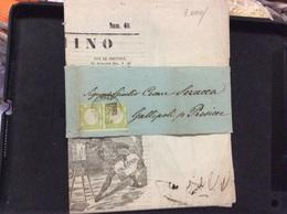 ITALIA  Antichi Stati Coppia Mezzo Tornese Su Fascetta Di Giornale 2 Aprile 1861 - Napoli