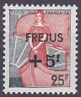 Timbre Neuf ** N° 1229(Yvert) France 1959 - Marianne à La Nef Surchargé Fréjus - 1959-60 Marianne (am Bug)