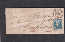 SAINT-ANTHONIN  ( TARN & GARONNE  )  PC 2986   -  LAC + NAPOLEON N° 14B   Pour TOULOUSE  -  24 JUIL.1861 - REF 13712 - 1849-1876: Classic Period