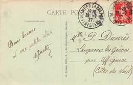 20-4632 : CACHET QUIMPER ENTREPOT. FINISTERE. 26 JUILLET 1927 - Marcophilie (Lettres)
