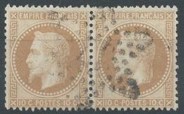 Lot N°54594  Paire Du N°28A, Oblit étoile Chiffrée 37 De PARIS (Bt Malesherbes), Tache Blanche C De FRANCAIS Et Fleuron - 1863-1870 Napoléon III Lauré