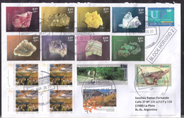 Argentina - 2020 Lettre - Minéraux - Amastist - Agata - Sulphur - Rhodochrosite - Flourite - Malachite - Pyrite - Quartz - Argentinien