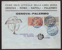 Regno, Busta Primo Volo Genova-Palermo Del 1926          -CM91 - Poststempel (Flugzeuge)