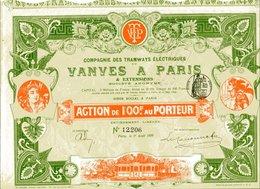 TRAMWAYS  ÉLECTRIQUES De VANVES à PARIS - Chemin De Fer & Tramway
