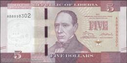 TWN - LIBERIA 31a - 5 Dollars 2016 Prefix AB UNC - Liberia