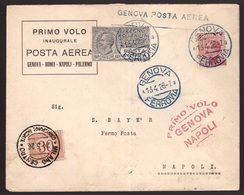 Regno, Busta Primo Volo Genova-Napoli Del 1926           -CM90 - Poststempel (Flugzeuge)
