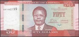 TWN - LIBERIA 34a - 50 Dollars 2016 Prefix AA UNC - Liberia