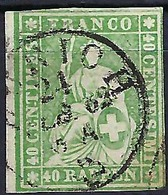 SUISSE 1862:  Le T.P. ZNr.26G, Oblitéré CAD Zürich Du 24 FEB 62 , 3-4 Marges - Gebruikt