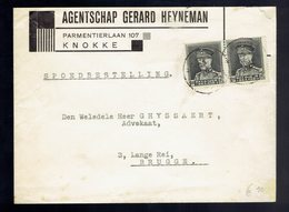 COB Képi 318 ( Paire ) / Lsc Exprès Knokke 23 IX 193? => Brugge ( Tarif Du 9 11 1931 ) - Belgio