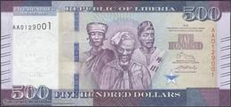 TWN - LIBERIA 36a - 500 Dollars 2016 Prefix AA UNC - Liberia