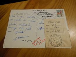 RECEPISSE SUR CARTE POSTALE 1966 - Curiosidades: 1960-69 Cartas