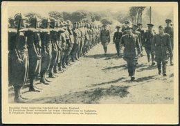 1940 GB Czechoslovakia Trilingual Propaganda Card.President Benes Inspecting Czechoslovak Troops England. Cholmondelay - 1902-1951 (Rois)