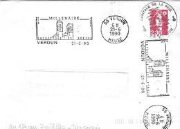 """MILLÉNAIRE CATHÉDRALE DE VERDUN Double Empreinte Au 21-6-90 Plus Cachet """"capitale De La Paix"""" TB - Postmark Collection (Covers)"""