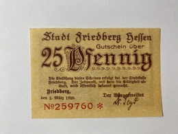 Allemagne Notgeld Friedberg 25 Pfennig - [ 3] 1918-1933 : République De Weimar