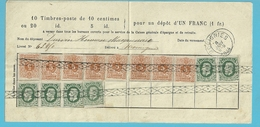 Bulletin D'épargne Dépôt D'un Franc Affr. 28x8+30 X6 Annulation Roulette Càd MOMIGNIES 8/1/1884 - 1869-1883 Léopold II