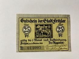 Allemagne Notgeld Fritzlar 25 Pfennig - [ 3] 1918-1933 : République De Weimar