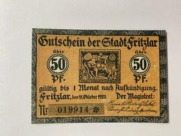Allemagne Notgeld Fritzlar 50 Pfennig - [ 3] 1918-1933 : République De Weimar