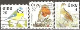Irlande - 1997 - Mésange Bleue, Rouge-gorge Et Râle Des Genêts - YT 979, 980 Et 1023 Oblitérés - Oblitérés