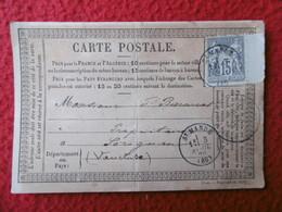 CACHET SAINT MANDE SUR TIMBRE 15 C GRIS TYPE SAGE BORD DE FEUILLE PRÉCURSEUR CARTE POSTALE 1878 - Storia Postale