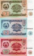 TAJIKISTAN 1,5,10,RUBLES 1994 P-1a,2a,3a  UNC - Tadzjikistan