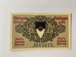 Allemagne Notgeld Oberamts-stadt 25 Pfennig - [ 3] 1918-1933 : République De Weimar