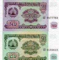 TAJIKISTAN 20,50 RUBLES 1994 P-4a,5a  UNC - Tayikistán
