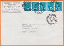 Mne De Béquet 45c Bleu Y.T. 1663 X 5 Enveloppe Entete PUB De 56 LORIENT Morbihan   Postée Le 8 8 1978 - 1971-76 Marianne (Béquet)