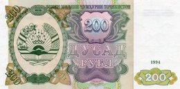 TAJIKISTAN 200 RUBLES 1994 P-7a  UNC - Tadzjikistan