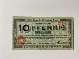 Allemagne Notgeld Koln 10 Pfennig - [ 3] 1918-1933 : République De Weimar