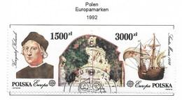Polen / Polska  1992 Mi.Nr. 3377 / 3378 , EUROPA  CEPT - Entdeckung Von Amerika - Gestempelt / Fine Used / (o) - Europa-CEPT