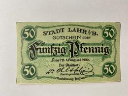 Allemagne Notgeld Lahr 50 Pfennig - [ 3] 1918-1933 : République De Weimar